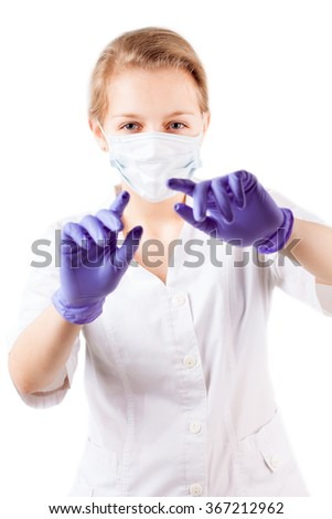 Doctor in mask with gloves  observe patient isolated on white