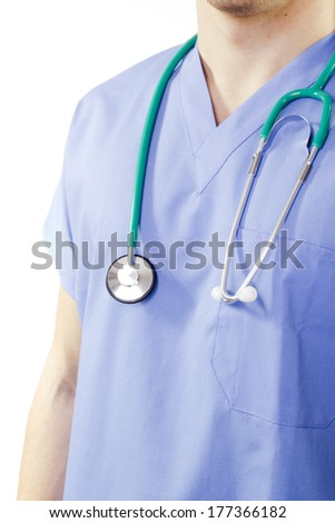 Doctor in uniform with a stethoscope. Medical Practice. - stock photo