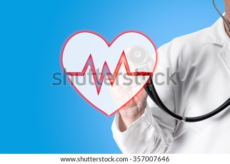 Doctor in white coat holding a stethoscope in his hand