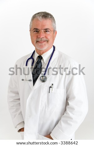 Doctor in white lab coat, wearing stetoscope around neck