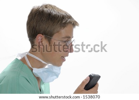 Doctor is making a notice - stock photo