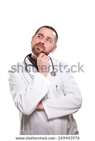 Doctor is thinking about his patient's diagnosys - stock photo