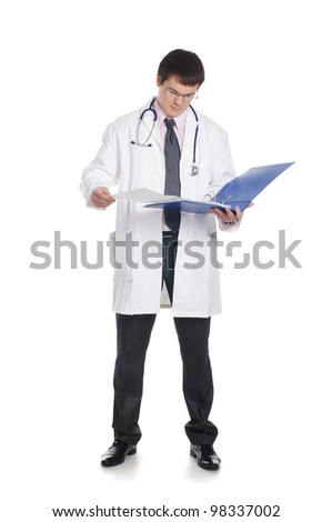 Doctor isolated on white - stock photo