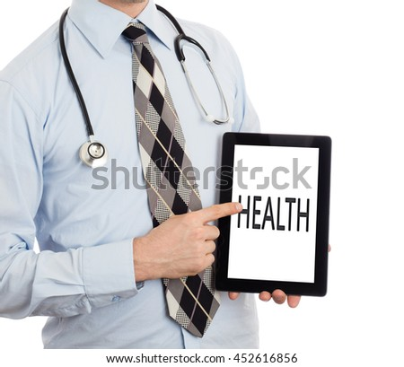 Doctor, isolated on white backgroun,  holding digital tablet - Health - stock photo