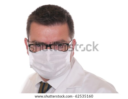 Doctor isolated on white. Wears mask  and glasses and looks directly at camera.