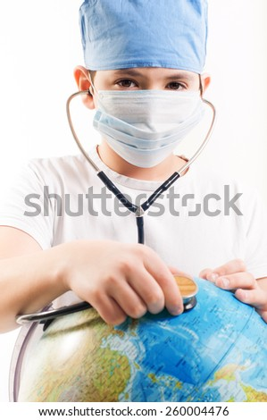 Doctor listen to the globe - stock photo