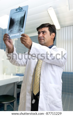 Doctor looking at a digital scan
