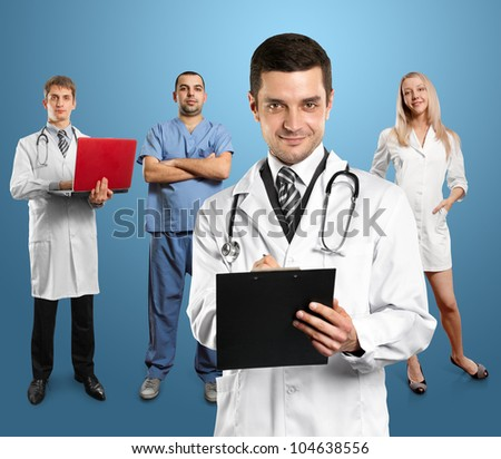 Doctor man with stethoscope and clipboard with his employee - stock photo