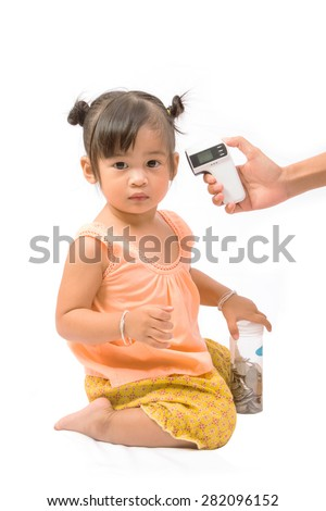 doctor measuring temperature cute baby girl isolated on white - stock photo