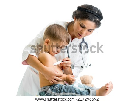 doctor measuring  temperature kid isolated on white background - stock photo