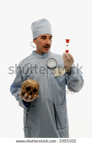 Doctor measuring time with sand-glass holding a scull in his right hand - stock photo