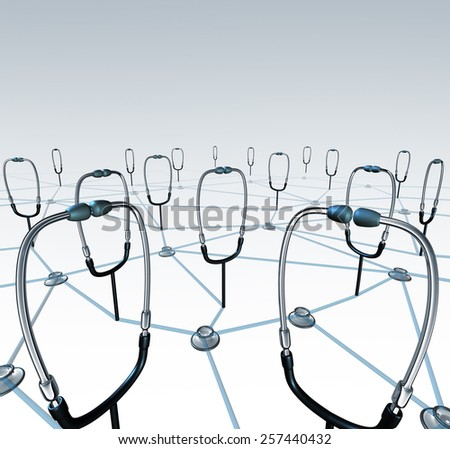 Doctor network and medical records exchange concept as a group of connected physician stethoscopes sharing data through a virtual health care networking system. - stock photo
