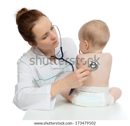 Doctor or nurse auscultating child baby patient spine with stethoscope physical therapy closeup composition on a white background