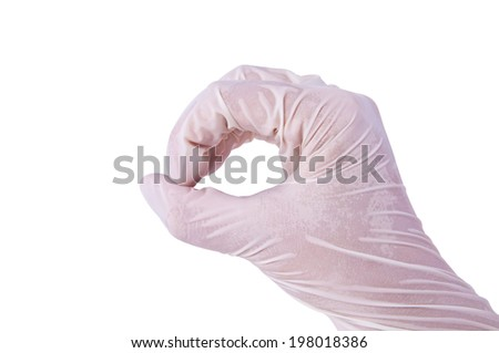 Doctor or Nurse human hand showing gesture for Showing Size of Round Object or for patients with Medical Rubber Clean Glove isolated on white background. - stock photo