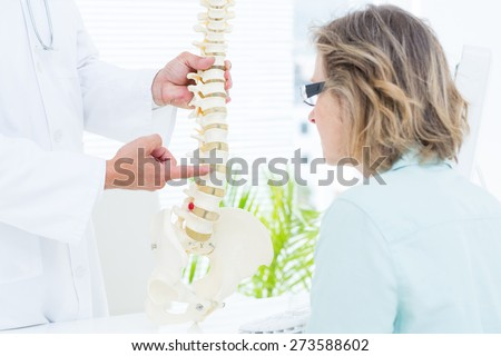 Doctor pointing anatomical spine in medical office - stock photo
