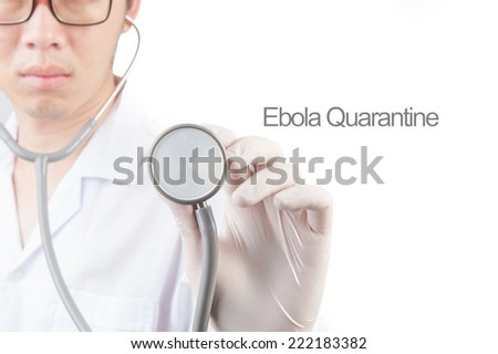 Doctor pointing pen to ward screen about ebola out brake