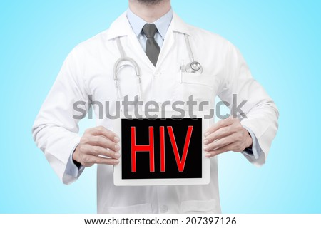 doctor presenting diagnosis hiv word in digital tablet screen concept for medical  - stock photo