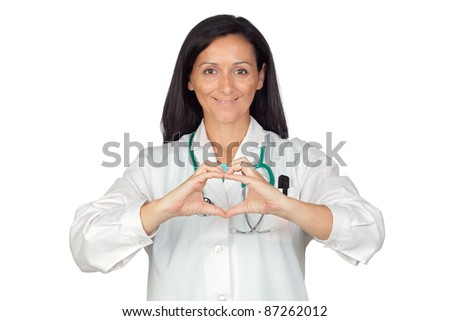 Doctor putting their hands in the shape of heart isolated on white background - stock photo