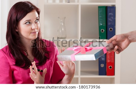Doctor refusing to take bribe from patient - stock photo