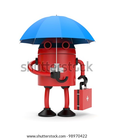 Doctor robot with umbrella. Image contain clipping path - stock photo
