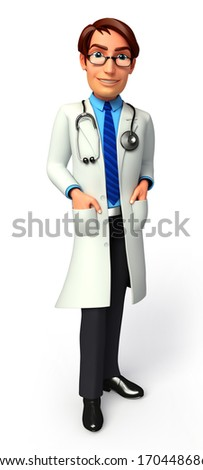 Doctor's hand in pocket - stock photo