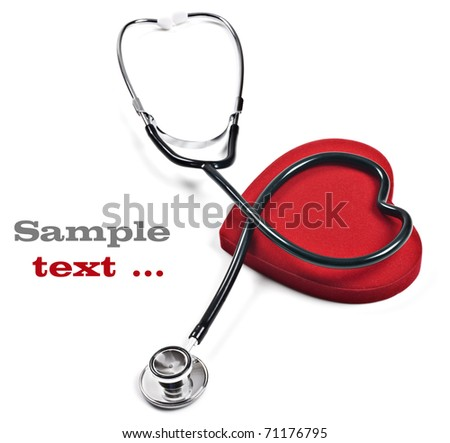 Doctor's stethoscope and red heart on a pure white background with space for text - stock photo