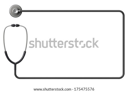 Doctor's stethoscope as frame on a white background with space for text - stock photo