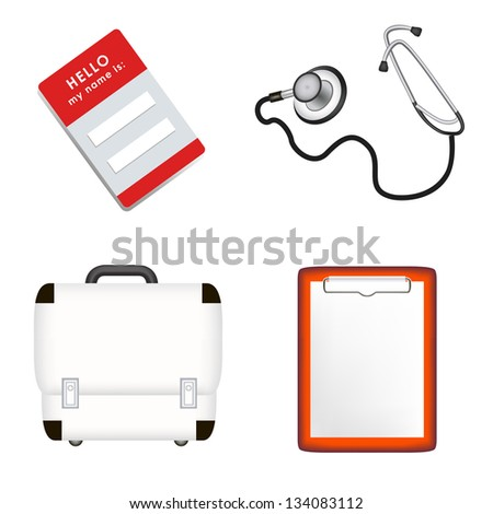 doctor's stethoscope, first aid case, plane-table, name card. jpg version - stock photo