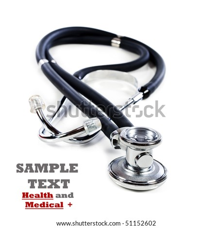 Doctor's stethoscope on a white background with space for text
