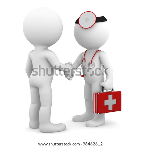 Doctor shaking hand with patient. Isolated - stock photo