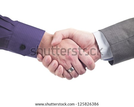 Doctor shaking hands against white background