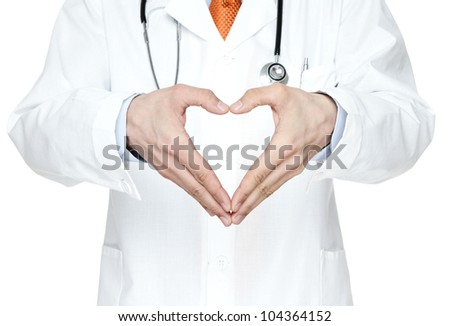 Doctor showing heart shape isolated on white background - stock photo