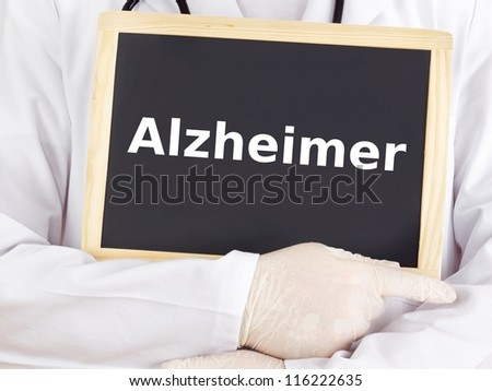 Doctor shows information: alzheimer disease