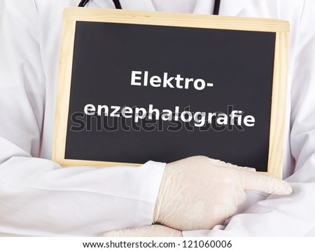 Doctor shows information: electroencephalography
