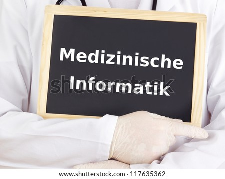 Doctor shows information: health informatics