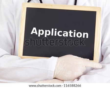 Doctor shows information on blackboard: application