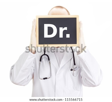 Doctor shows information on blackboard: dr