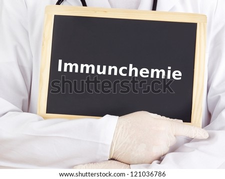 Doctor shows information on blackboard: immunology