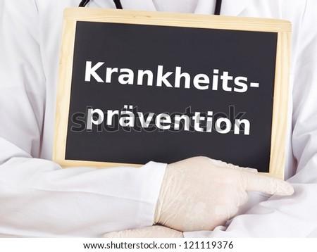 Doctor shows information: preventive medicine - stock photo