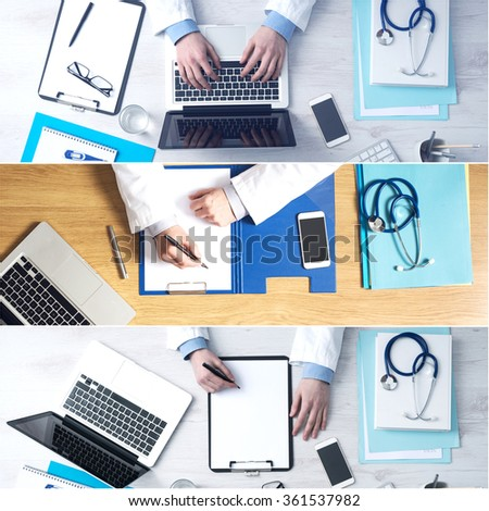 Doctor sitting at office desk, top view. Medical collage of pictures - stock photo