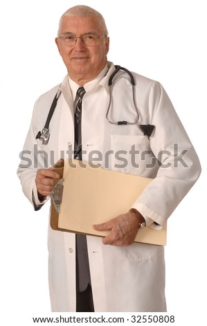 Doctor standing in labcoat against a white background - stock photo