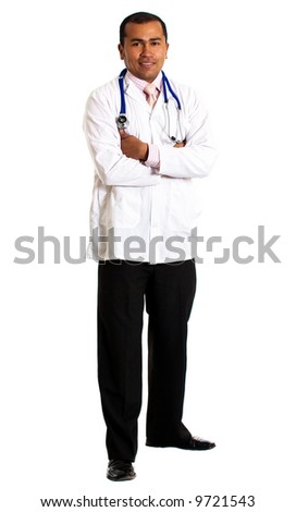 doctor standing isolated over a white background