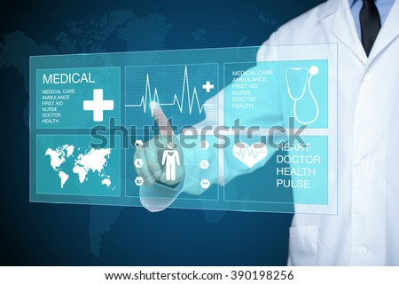 doctor touching glow heartbeat line - stock photo