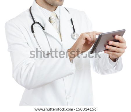 Doctor using tablet - stock photo