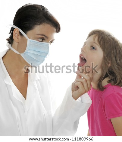 doctor with a little girl - patient