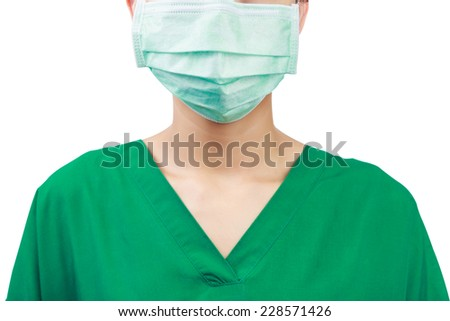 doctor with a mask isolated on white. Clipping path - stock photo