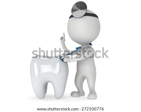 Doctor with a stethoscope and mirror on his head checkup healthy tooth. 3d render man isolated on white. Medicine and healthcare dental concept. - stock photo