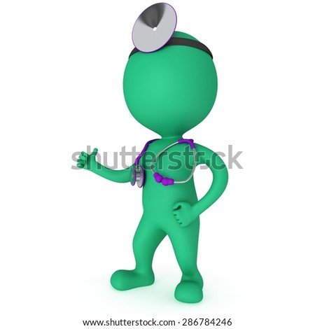 Doctor with a stethoscope and mirror on his head showing thumbs up. 3d render man isolated on white. Medicine and healthcare concept.