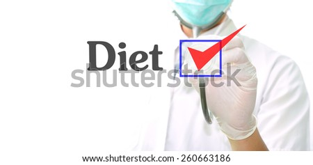 doctor with a stethoscope with the word diet written in it - stock photo