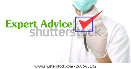 doctor with a stethoscope with the word Expert Advice written in it - stock photo